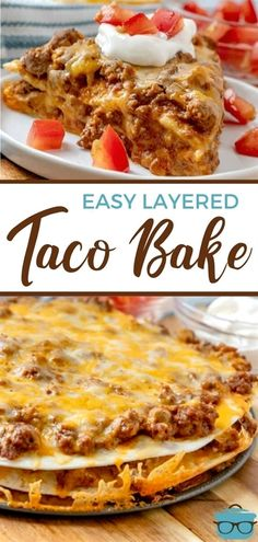39 reviews · 45 minutes · Serves 6 · Taco Bake (sometimes known as Mexican Pizza) is a simple and quick weeknight meal with layers of tortillas, ground beef and salsa con queso!