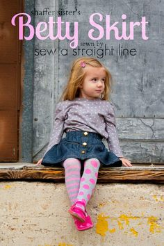 Betty Skirt by Shaffer Sisters, in denim with lots of topstitching. Kensington Tee by Hey June Handmade in pink polka dots on grey. Sewn by Sew a Straight Line Baby Fashionista, Kids Patterns, Pink Polka Dots, Craft Projects, Sewing Projects, Craft Ideas, Handmade Clothes, Sewing For Kids, Sewing Clothes