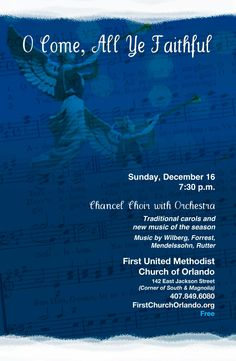 2012 Christmas Concert - a gift to the downtown Orlando community from First Church December 16 Concert Flyer, Downtown Orlando, Christmas Concert, Orchestra, New Music, Flyers, December, Faith, Community