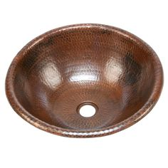 Renew your bath with this round copper bathroom sink. Featuring an eye-catching hammered design, this deep-bowl sink will look stunning in any decor. Constructed of recyclable materials, this surface mount sink is a great ecofriendly choice.