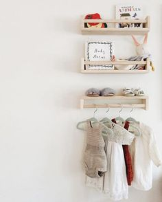 An adorable space-saving solution for your daughter's room! Install mini book holders in a vertical formation to hold stuffed animals, books, toys. Then flip one when installing to use as a mini rack for her outfits of the week! #smartstyle