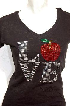 teacher t shirts with bling | Rhinestone Bling Teacher apple gift Bling T Shirt by BlingNInk