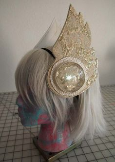 Made to Order Luxe Edition LED Light Up Galactic Headwear - White, Gold, Silver Sequined Lace Vegan Valkyrie Wings - Great for Halloween