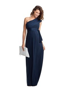 Belmont Maternity Maxi | We love this floor length dress from Isabella Oliver. Solid color, the one shoulder detail, and the subtle pleats at the waist. Glamorous and Classy.