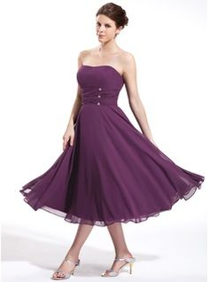 bfb19a5eeead Empire Sweetheart Tea-Length Chiffon Bridesmaid Dress With Ruffle Beading  (007026270) - JJsHouse