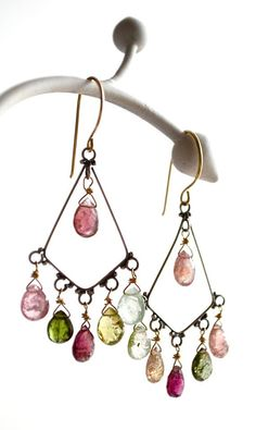 watermelon tourmaline earrings  - Rainbows over Hilo Bohemia