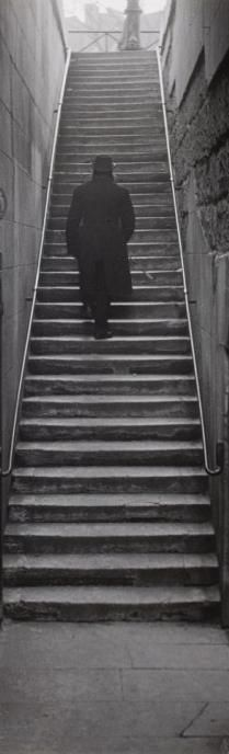 Robert Doisneau, Armand Fèvre - Man of the Past, detail. The stairs lead to the Square du Vert Galant, near the Pont Neuf, on the Seine quays, 1949