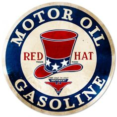 Red Hat Gasoline Automotive Round Metal Sign - Victory Vintage Signs by Victory Vintage Signs. $18.95. Made in the USA. Dimension: 14 x 14. High Resolution Color Image. Vintage Sign. Quality Heavy Gauge Metal Sign. This Red Hat Gasoline round metal sign measures 14 inches by 14 inches and weighs in at 1 lb(s). This round metal sign is hand made in the USA using heavy gauge american steel and a process known as sublimation, where the image is baked into a powder coating for...