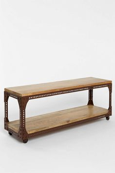 This industrial-inspired console table has a cool, salvaged feel for an eclectic room.  (4040 Locust Industrial Media Console at Urban Outfitters)