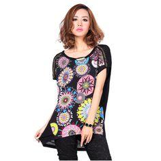 Aisabella2013 summer new arrival multicolour print loose chiffon plus size strapless gauze short-sleeve T-shirt female $42.87