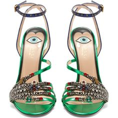 Gucci Wangy embellished leather sandals ($1,890) ❤ liked on Polyvore featuring shoes, sandals, heels, stiletto sandals, spike shoes, spiked sandals, gucci shoes and green stilettos