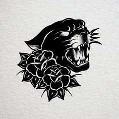 Traditional Tattoo Black And White, Traditional Panther Tattoo, Traditional Tattoo Old School, Traditional Tattoo Design, Leg Tattoos, Black Tattoos, Sleeve Tattoos, Tattoo Design Drawings, Tattoo Sketches