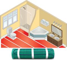 """WarmlyYours TempZone™ electric floor heating systems install easily under ceramic tile, natural stone, hardwood, wood and other popular floor coverings.   TempZone™ consists of a heating cable secured onto a green mesh fabric, the heating cable is distributed in serpentine loops always staying 2"""" apart to deliver an even heat throughout the flooring area without leaving any cold spots the room."""