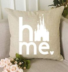 disney house decor This pillow gives a touch of Disney whimsy to your decor! It's a decorative linen look, square throw pillow shown with White, Black, or bold Red lettering. Disney Themed Rooms, Disney Bedrooms, Disney Throw Pillows, Throw Pillow Cases, Disney Gift, Disney Crafts, Casa Disney, Disney House, Disney Home Decor