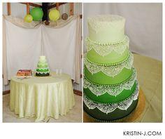 WOW! Ombre-layered green wedding cake #wedding #vintagewedding #vintagerental
