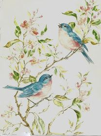 PJH Designs One of A Kind Vintage & Antique Furniture & Home Decor: Free Graphics Wednesday Vintage Birds, Vintage Flowers, Vintage Pictures, Vintage Images, Painting Antique Furniture, Decoupage, Picture Postcards, Watercolor Bird, Free Graphics