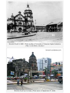 The Binondo Church in 1899 and in 2008.
