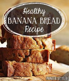 Make this healthy banana bread recipe and enjoy a slice or two of the best banana bread you've ever had. This easy banana bread recipe will be a family fav! Easy Bread Recipes, Banana Bread Recipes, Sweet Recipes, Cooking Recipes, Delicious Desserts, Dessert Recipes, Yummy Food, Healthy Sweets, Healthy Baking