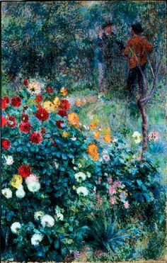The Garden in the rue Cortot, Montmartre by Pierre-Auguste Renoir - Pierre-Auguste Renoir's The Garden in the rue Cortot, Montmartre features Claude Monet in the background. Find out about this Impressionist painting. Pierre Auguste Renoir, Pierre Bonnard, Claude Monet, August Renoir, Renoir Paintings, Flower Paintings, Carnegie Museum Of Art, Art Français, Impressionist Paintings