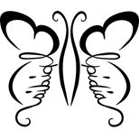 Butterfly and handwriting tattoo design (black)