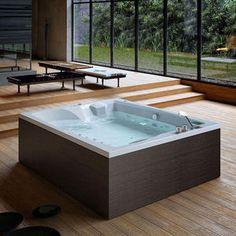 free-standing bathtub / wooden / acrylic / double