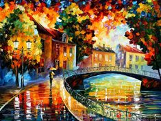 "Old Bridge — PALETTE KNIFE Oil Painting On Canvas By Leonid Afremov - Size: 30"" x 40"" (75cm x 100cm)"