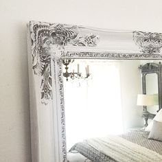 Mirror White Distressed Framed Wall Mirror for Bathrooms Nursery and Mantle Decor in Baroque Ornate Style Custom Colors Available by HallstromHome on Etsy https://www.etsy.com/listing/258734452/mirror-white-distressed-framed-wall