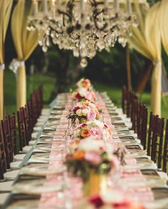 Rows of Roses - Pink Wedding Decor - Colorful Roses and Chandeliers - perfect outdoor wedding - Bliss Wedding Design - Dmitri and Sandra Photography