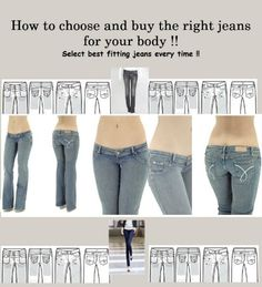 Jeans for Women - How to choose and buy the right jeans for your body!! Select best fitting jeans every time!! $4.99