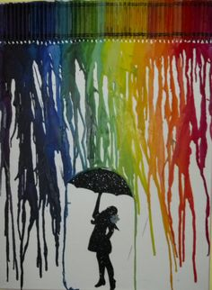 Melted Crayon Art  Girl with Umbrella by MeltGallery on Etsy