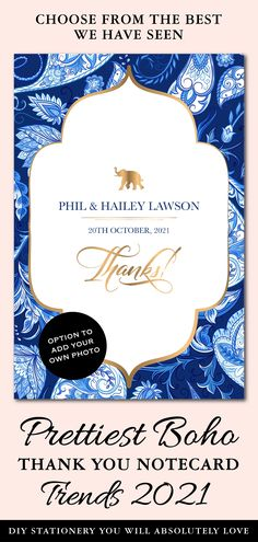 These Paisley Wedding Thank You card templates are for those who would like to leave, not only a subtle, but also an impactful impression with their Wedding Guests!This DIY thank you notes personalised, is perfect not only to use as is but also customize it to make it a DIY Thank You notecard with photo. Stationery Templates, Card Templates, Unique Wedding Save The Dates, Invites, Wedding Invitations, Paisley Wedding, Diy Wedding Stationery, Thank You Card Template, Digital Invitations
