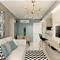A Guide to Cute And Chic Living Room Design For Your Home - flipsyourhome Condo Interior Design, Studio Apartment Design, Condo Design, Apartment Interior, House Design, Small Apartment Design, Small Living Rooms, Home Living Room, Living Room Designs
