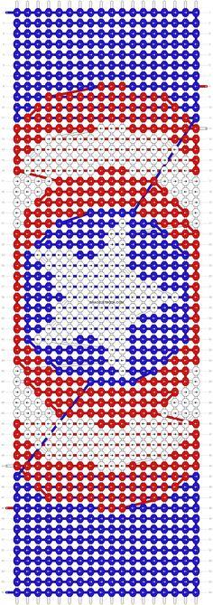 Alpha friendship bracelet pattern added by captain america shield marvel hero lanyard superhero. Friendship Bracelet Instructions, Diy Friendship Bracelets Patterns, Beaded Bracelet Patterns, Bead Loom Patterns, Bracelet Designs, Beading Patterns, Diy Bracelets Yarn, Bracelet Crafts, Seed Bead Projects