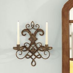 Mavelot Candle Sconce | Taper Sized Candleholders | Wrought Iron Wall Sconce | IN DR ON EITHER SIDE OF TAPESTRY - VERY AFFORDABLE.
