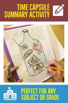 Are you in need of a creative way for your students to find the main idea or summary of any assigned text or reading? This Time Capsule guide will help students summarize any historical, fictional, non-fictional, article or text book reading using illustration and writing. The summary template is very clear and on point for students to understand. You can use it for any subject matter or class! This is no-prep for the teacher, so you can keep being the awesome teacher that you are… Social Studies Classroom, Social Studies Activities, English Activities, Teaching American History, Teaching History, High School History, World History, Teaching Government, Summary Writing