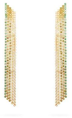 Lynn Ban - Waterfall Sapphire & Gold-plated Earrings - Green