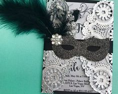 Masquerade doily invitation birthday/ fifty and fabulous/ quinceañera/ sweet sixteen