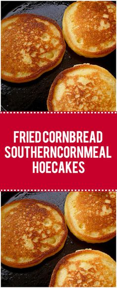 Fried cornbread, is also known as cornmeal hoe cakes and corn cakes, and sometimes Johnnycakes, is a sort of fried cornmeal flatbread – kind of like if you took cornbread batter and skillet fried it Fried Cornbread, Cornbread Cake, Cornmeal Cornbread, Skillet Cornbread, Cornmeal Recipes, Corn Recipes, Cornmeal Cakes Recipe, Recipies, Bread Recipes