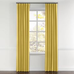 Lightweight Yellow Linen Curtain Ring Top
