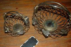 VERY NICE Set of Heavy Silver-Plate Godinger Grapes Grape-Leaf Bread Baskets #Godinger #Godinger