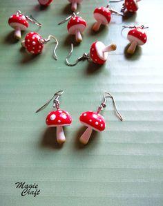 Earrings Handmade Mushroom Earrings Handmade in Polymer Clay Diy Clay Earrings, Funky Earrings, Earrings Handmade, Weird Jewelry, Cute Jewelry, Funky Jewelry, Polymer Clay Charms, Polymer Clay Jewelry, Clay Beads