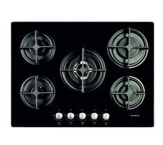 Gas-on-glass Hob with 5 burners - Black.  Currys S5GONGB13 £270.  Have decided to go back to gas as this will still work in a power cut!! and whenever you see a professional kitchen they are not using induction.