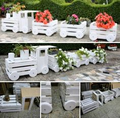 Crate Train Tutorial Old Crates, Wooden Crates, Garden Planters, Garden Beds, Wooden Train, Outdoor Play Areas, Crate Training, Outdoor Furniture Sets, Vila