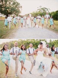 wedding party skipping
