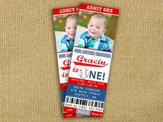 Baseball Ticket Invitations - FREE thank you card included. $12.00, via Etsy.