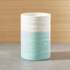 Shop Aqua Dip Utensil Holder.  The artisanal appeal of two-toned, dipped glazing adds fresh color to utensil storage.  Holder coordinates with other pieces in the Aqua Dip collection.