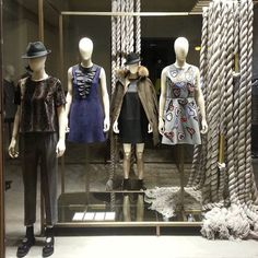 """MAXMARA,Fall/Autumn/Winter, """"Next question contestants....starting with a B and is linked to the color yellow,who else used rope in there window-displays this Autumn?', pinned by Ton van der Veer"""