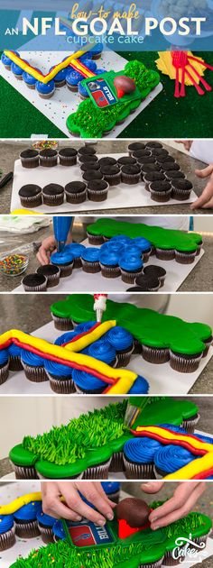 Make an NFL Goal Post Cupcake Cake to share with the whole family