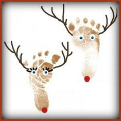 Preschool Crafts for Kids*: Christmas Reindeer Footprint Craft. Putting these on plates for Christmas would be cute! Kids Crafts, Christmas Crafts For Toddlers, Christmas Activities, Baby Crafts, Toddler Crafts, Preschool Crafts, Holiday Crafts, Holiday Fun, Christmas Holidays