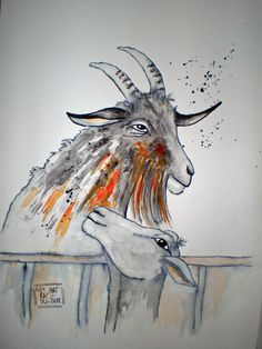 Tusche Moose Art, Animals, Goat Barn, Watercolor, Painting Art, Animales, Animaux, Animal, Animais